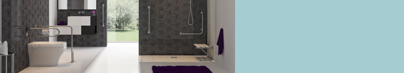 Handles and folding seats for bathrooms