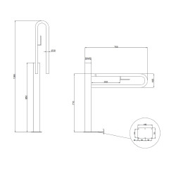 Floor mounted support column with flip up screw grab bar