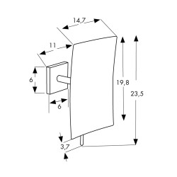 Square magnifying mirror x5,1 arm